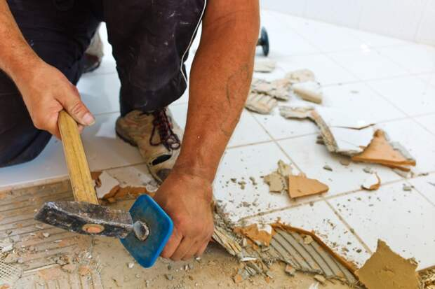демонтаж плитки с пола