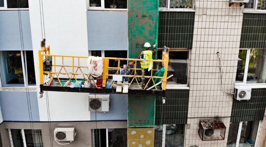 фото фасадные работы с люлек